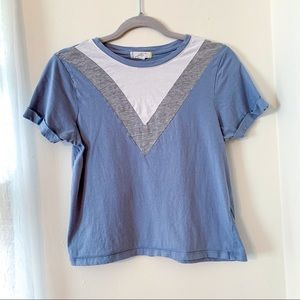 Muted Blue Rolled Sleeve Crop Top